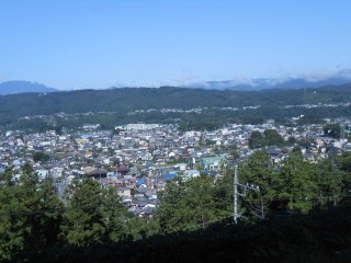 Panoramic view from the restaurant to the East: Chichibu City and the mountain range
