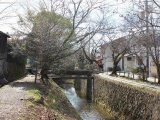 은각에서 수로가로 2킬로 정도 이어지는 강둑의 오솔길을 '철학의 길'이라고 한다