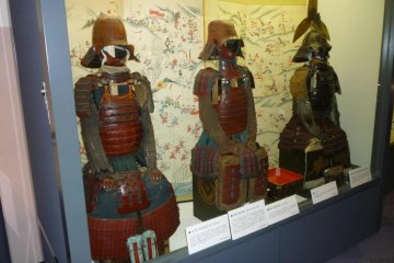 Some of the many suits of samurai armor on display