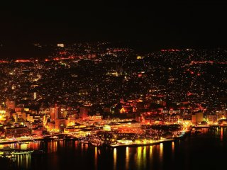 Shimmering city of gold at night, Nagasaki: This city has prospered through trade with European countries, China and Russia since olden times
