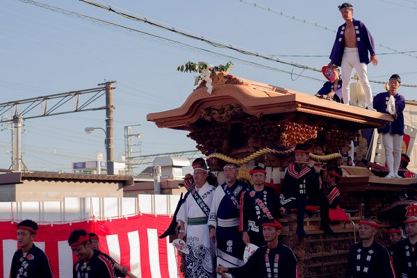Neighbourhood teams pull their danjiri (floats) through the streets of Kishiwada, vying for glory.