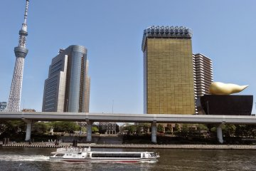 <p>All in one picture the Sky Tree, the Asahi Beer Tower, the Shuto Expressway No. 6, the Sumida River and one of many Sumida Cruise boats</p>