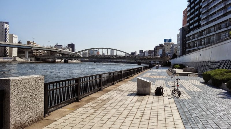 <p>The Sumidagawa Terrace with displays of famous Japanese prints</p>