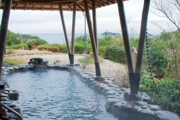 The onsen looking out on the ocean