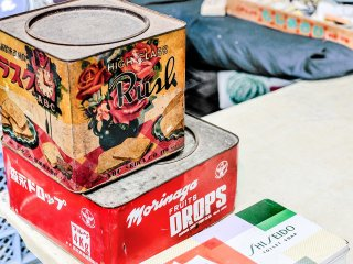 Wouldn't be a flea market without a collection of vintage tin boxes