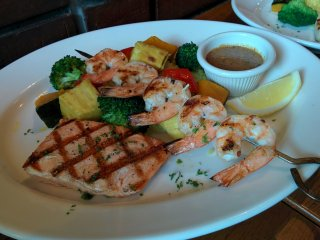Grilled salmon and grilled shrimp brochette combo