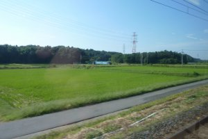 By train, it won't be long before rice paddies, fields and forests replace Tokyo's urban landscapes