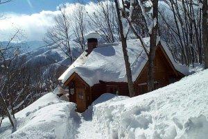 A classic winter cabin