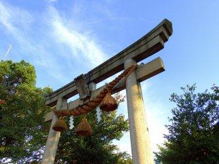 青空の下聳え立つ白山神社の鳥居