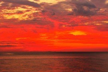<p>พระอาทิตย์ตกดินดูราวกับว่าจะเผาไหม้เมฆให้เป็นเถ้าถ่าน</p>