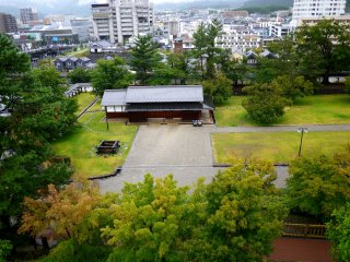 Looking down on Maizuru-jo Park.