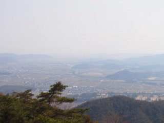 The view down into the valley of Soja and Okayama cities