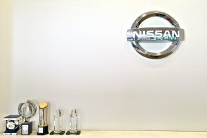 Nissan logo and their prestigious awards inside the Guest Hall