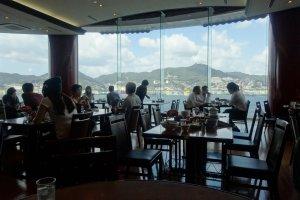 The sweeping views of Nagasaki Bay from the dining room of Shikairo