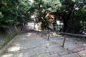 足羽山山腹にある藤島神社へと続く長い石段