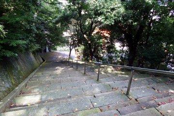 <p>Long stone steps leading to the entrance of Fujishima Shrine on the hillside of Mount Asuwa</p>