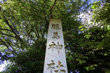 <p>Stone marker of Fujishima Shrine under the tall trees</p>