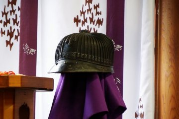 <p>Replica of the samurai helmet worn by Nitta Yoshisada. It was discovered sometime between 1655 and 1657. The original was designated as an important cultural property of Japan, and is kept in a secret place in the shrine.</p>