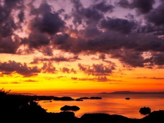 Sunset viewed from Mount Sengan in Kami Amakusa city