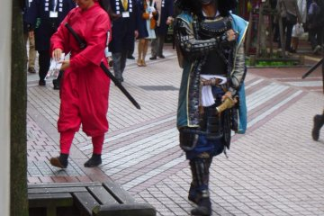 <p>The greatest warrior of the Date clan in a parade alongside the female ninja, Hata</p>