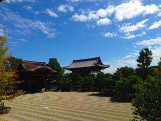 Um lindo e calmo jardim sob o céu azul