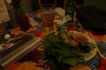 Delicious Vietnamese spring rolls in Café Hai