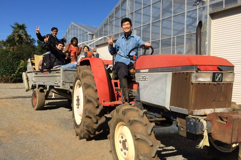 Hop on the tractor-trailer with Yokota Fumito san for a thrilling ride through the farm!