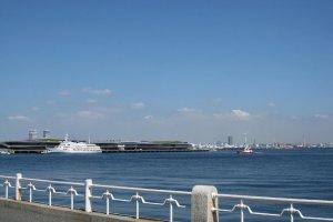 View of Yokohama Harbor from Yamashita Park.
