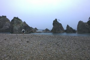 Jodogahama in Miyako, one of the top 10 places to see in Japan. Unfortunateythe weather was terrible on that day.