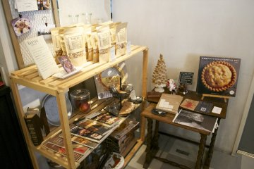 <p>Corner with baking products for sale</p>