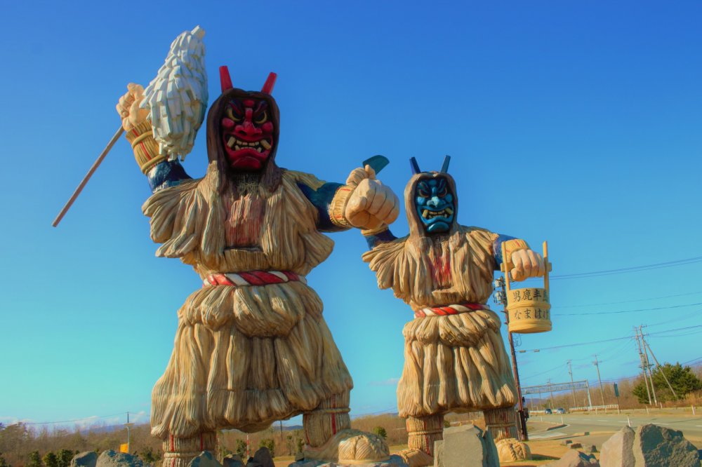 Namahage greet you at the entrance of the Oga Peninsula at the Oga Information Center.