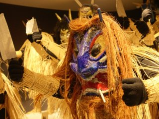 There are many fantastic Namahage masks on display at the Namahage Museum.