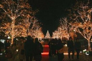 Central Square dengan pemandangan lampu natal di ujung