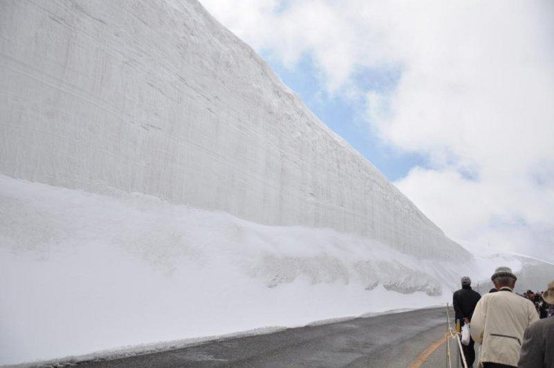 那天的雪牆有15公尺高。記得戴帽子防紫外線還可以保暖。