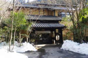 Snow is not an uncommon sight in winter at Ryokan Sanga