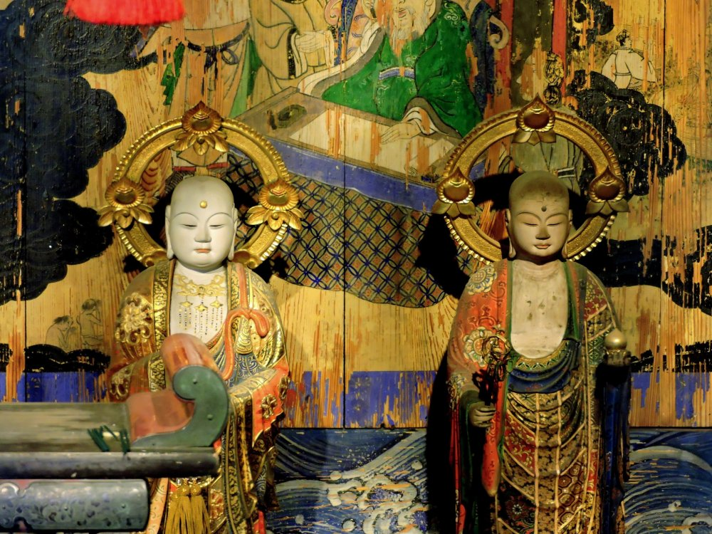 Ornate statues displayed in one of the temple buildings