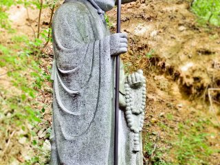 A statue of Kukai (Kobo Daishi), located outside the main entrance to Yakuo-in Temple. Kukai is famous for establishing the Shingon Sect of Buddhism in Japan during the 8th Century