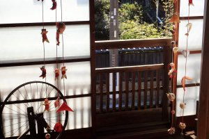 Upstairs at the Izumiya. Be sure to stop in for coffee or a light lunch. While there, watch the locals weave and pick up some souvenirs.