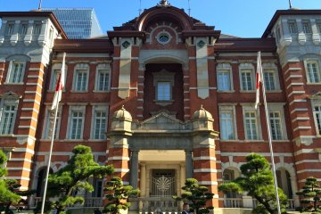 <p>A close-up of the famous red-brick Marunouchi side of Tokyo Station</p>