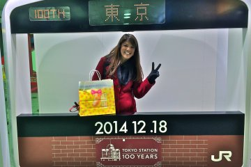 <p>Photo opp at the makeshift JR train decorated in the famous red-brick design</p>