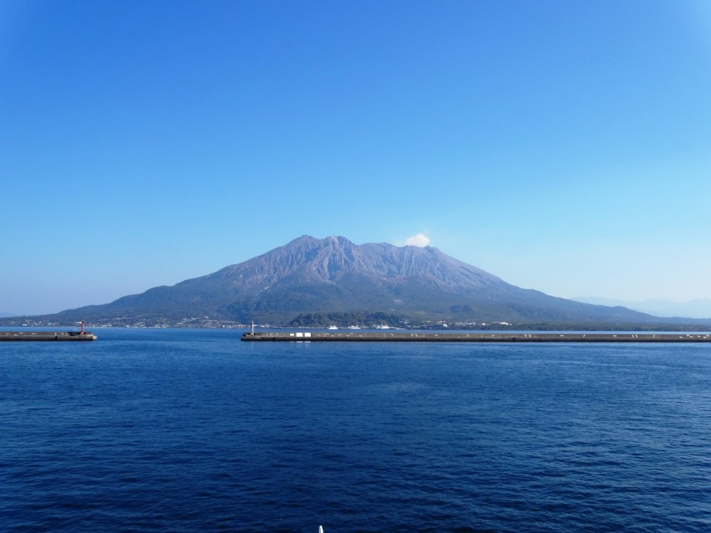 Sakurajima on a clear spring day