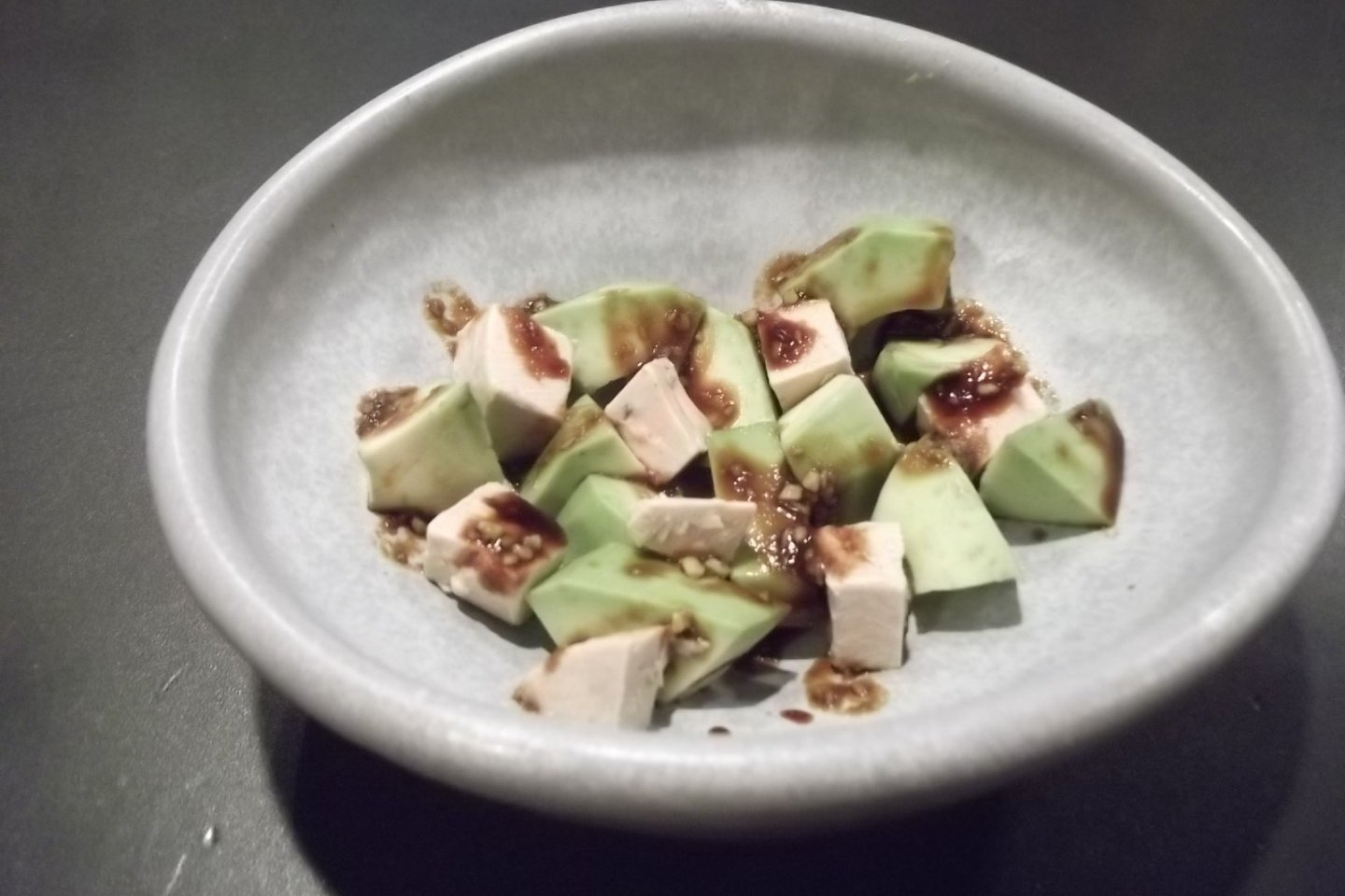 My side dish, avocado and foie gras with soy sauce and wasabi