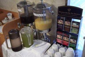 Coffee, juice and tea for breakfast