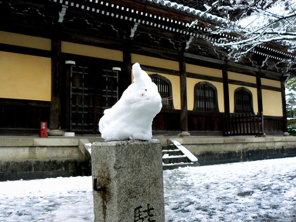 กระต่ายหิมะนั่งอยู่เหนือป้ายชื่อหินหน้าวัด