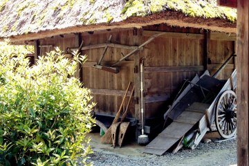 <p>Old farm tools and wooden sheds in Miyama</p>