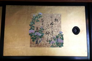 Artwork depicting the beauty of the four seasons at Miyazu. Mikami was generous in the use of gold in decorating his house.