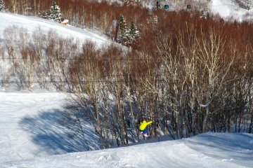 <p>A boarder takes the first set of jumps</p>