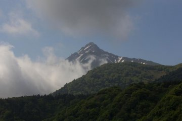 Mt.Rishiri seen from Hera-san`s house