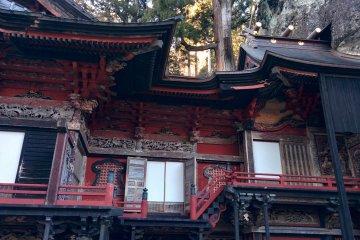 <p>The shrine halls reach into the mountainside</p>