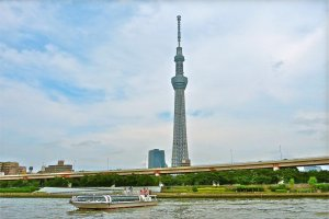 One of the Water Buses, in front of Tokyo Sky Tree.